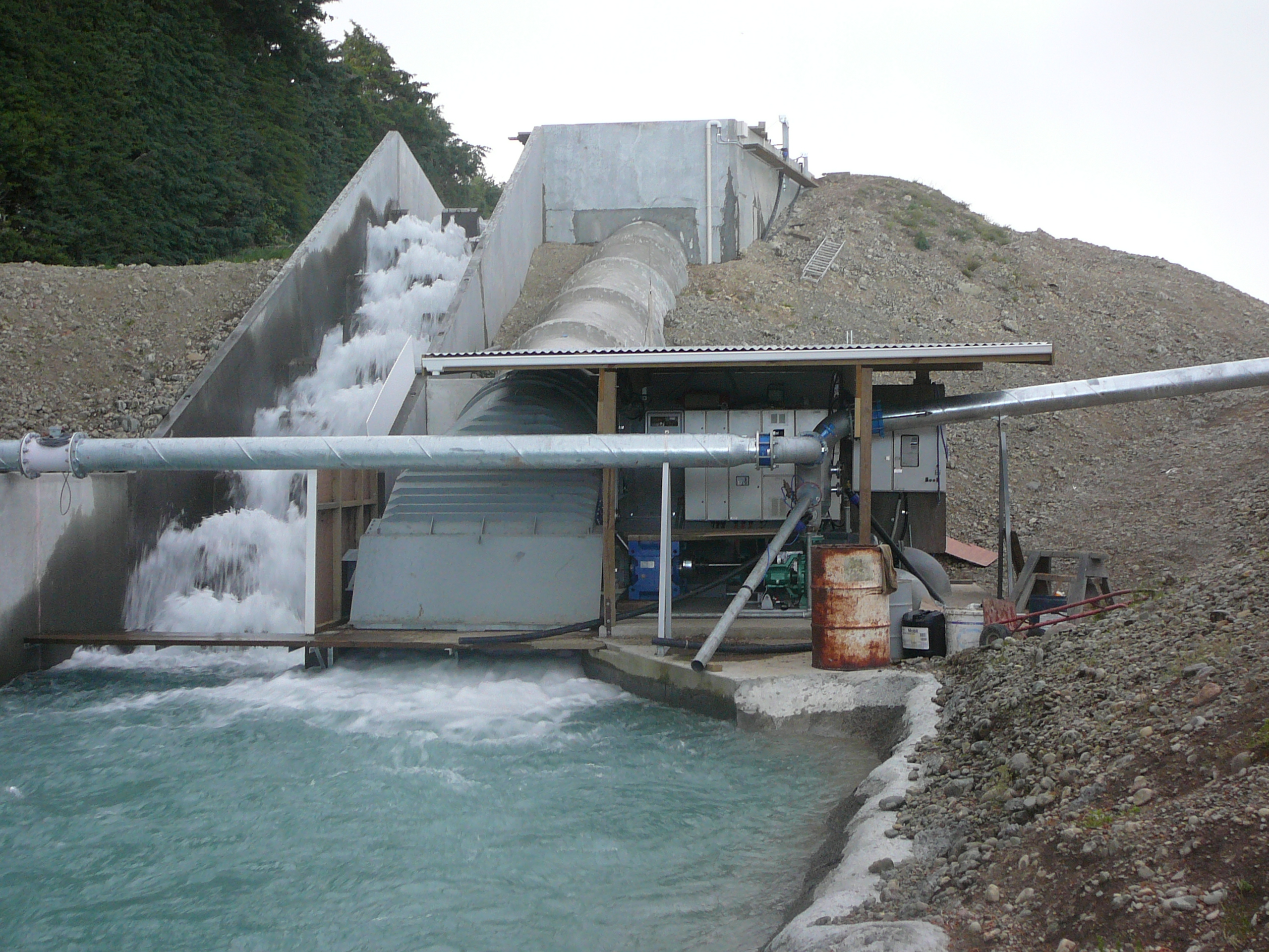 Hydropower, water turbine, pumping, crossflow, generation, hinds, rangitata, ealing pastures, rotor, alternator, pump, irrigation