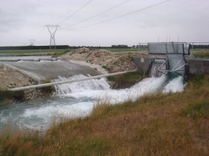 Diversion from irrigation race for water turbine.